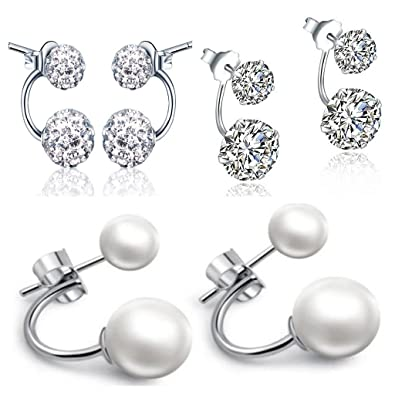 433365df9 Yumilok Jewelry 3 Pairs 925 Sterling Silver Pearls Crystal Cubic Zirconia  Double Balls Front and Back Earrings Studs Earring Jackets, ...