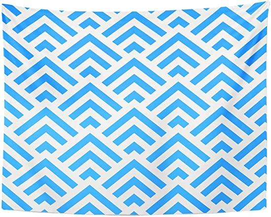 Tarolo Decor Wall Tapestry Arrow Abstract Blue and White Angle Stripes Pattern Furniture Geometric 80 x 60 Inches Wall Hanging Picnic for Bedroom Living Room Dorm