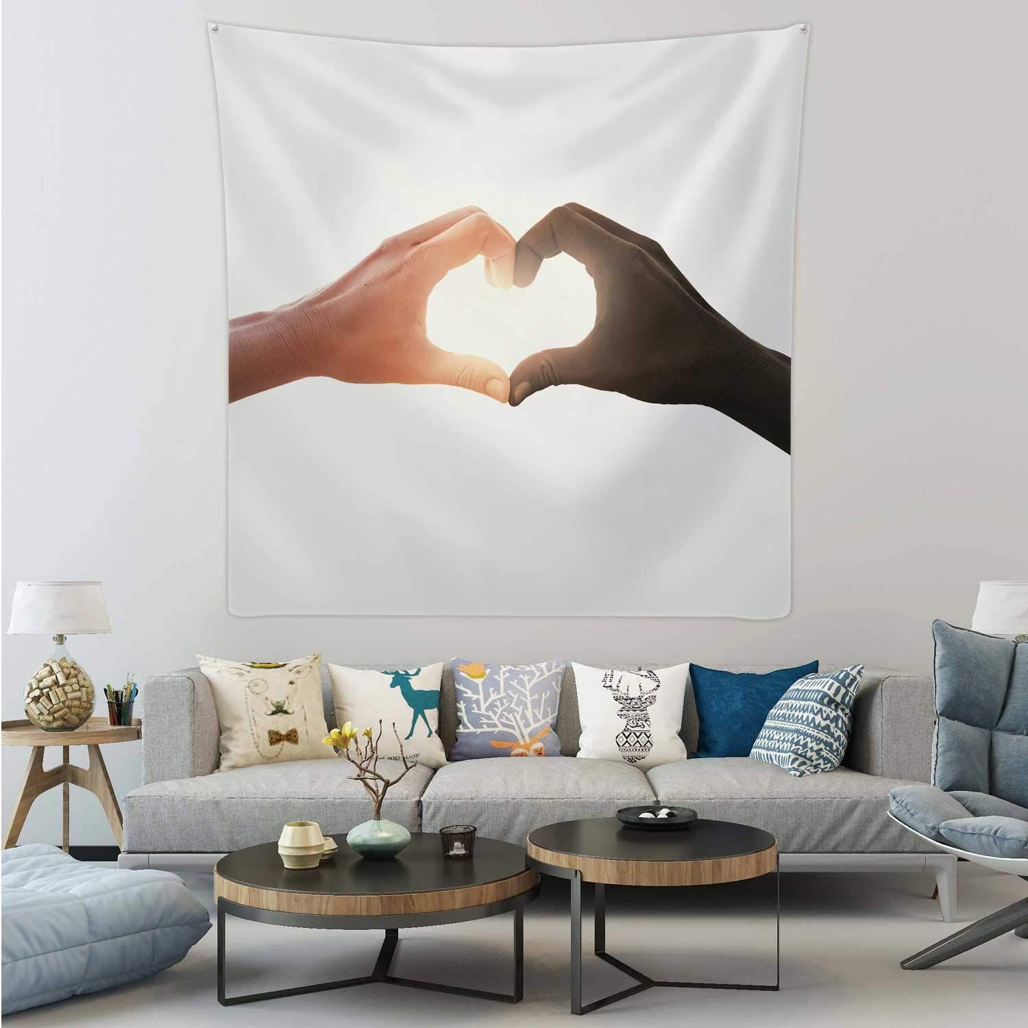 Hitecera interracial Couple in Love Heart Shape Hand Gesture,Tapestry Wall Hanging Wall Art for Living Room Dorm Decor 51.1X51.1in