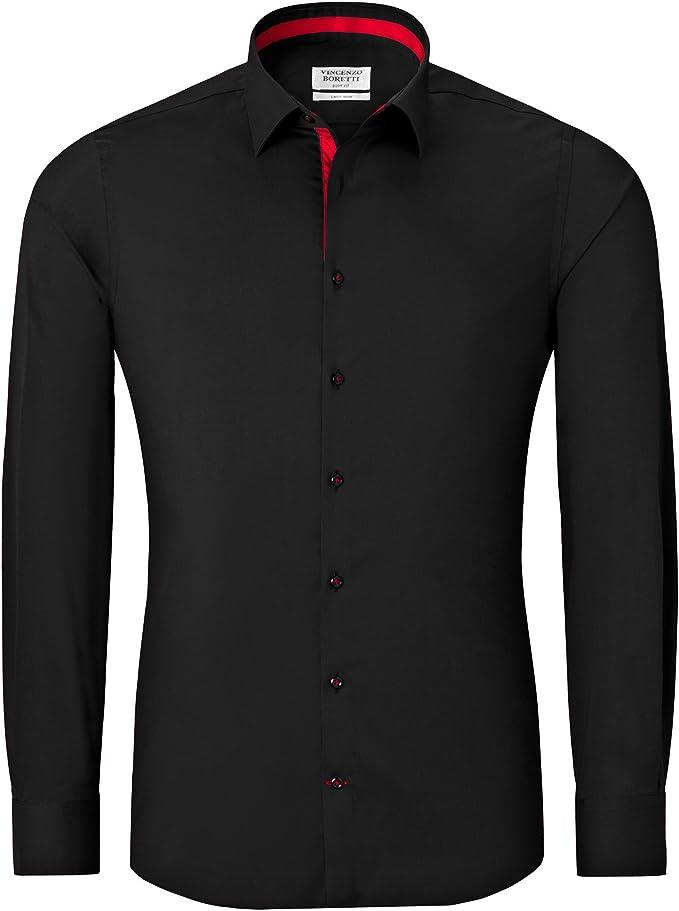 Vincenzo Boretti Camisa Hombre Negro/Rojo 41/42 cm (16/16.5 ...