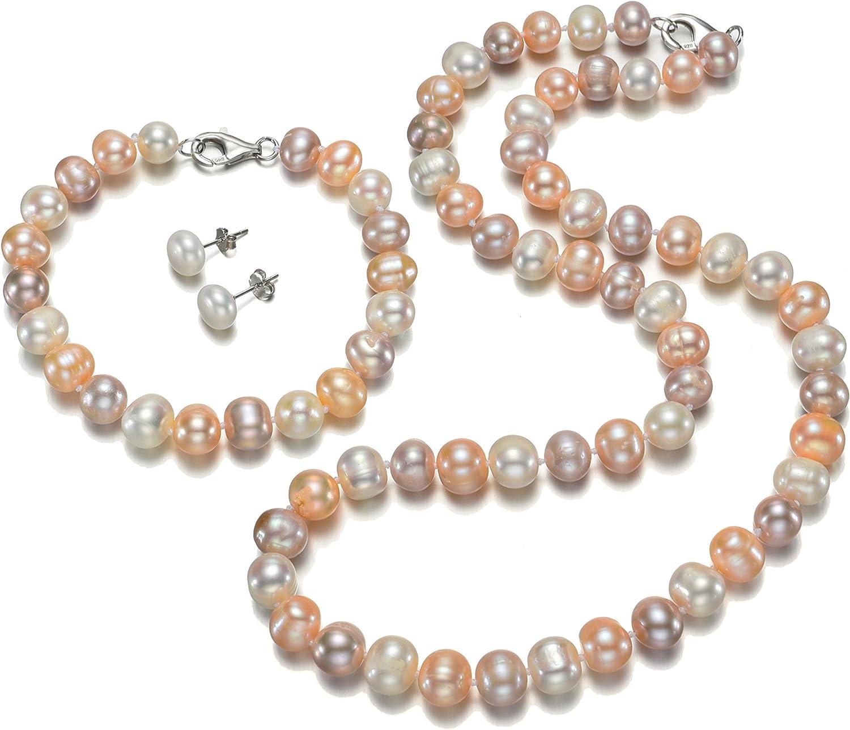 TreasureBay Fab Juego de collar, pulsera y pendientes de perlas de agua dulce, en estuche, color rosa, blanco y gris