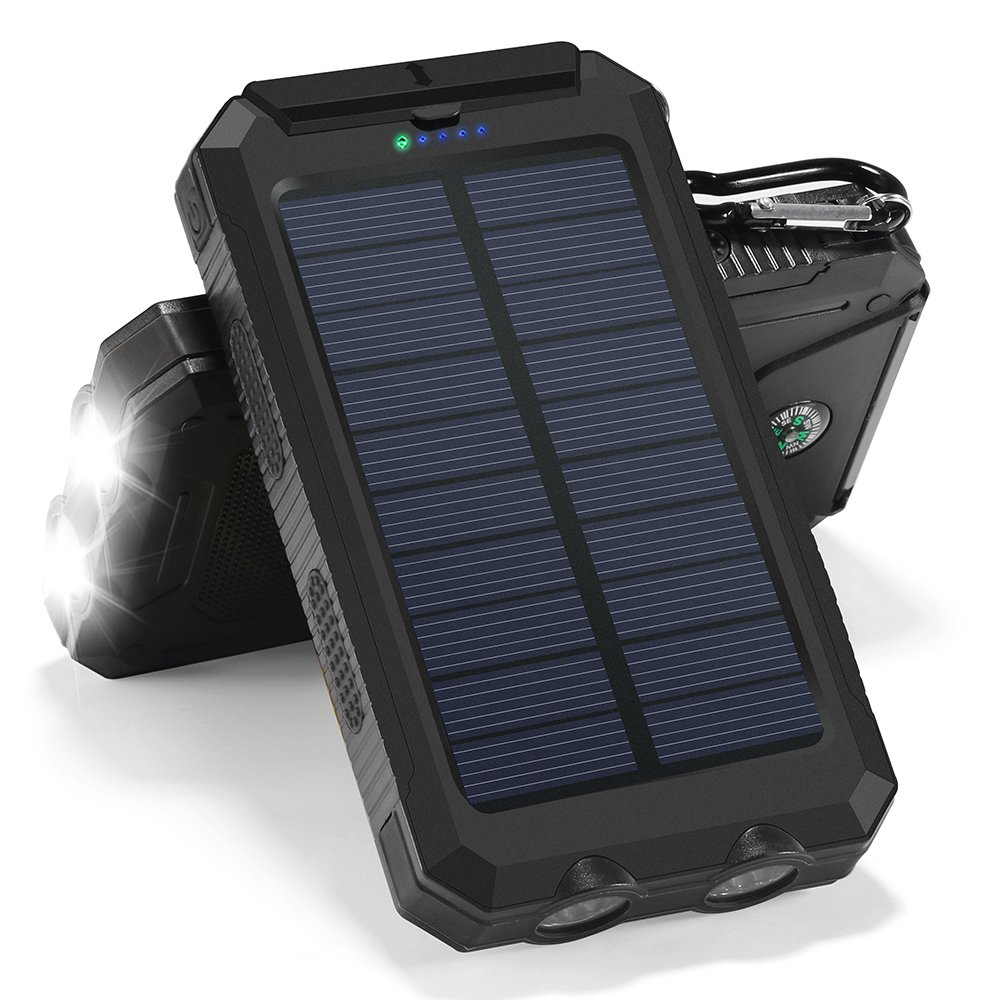 Solar Charger, 10000mAh Solar Power Bank Portable Battery Pack Cellphone Charger with 2 LED Flashlights, Solar Panel with Compass and Carabiner for IOS and Android Cellphones(Black)