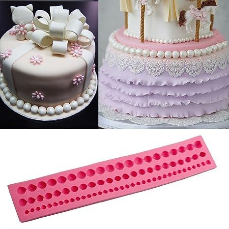 Gessppo Molde de pastel DIY Pearl String Paste Bead Clay Cake Mold Fondant Cake Silicone Tool