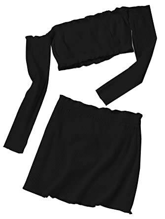 e0ac0086819 Amordaily Knitted Cropped Off Shoulder Top and Bodycon Mini Skirt - Black(S)