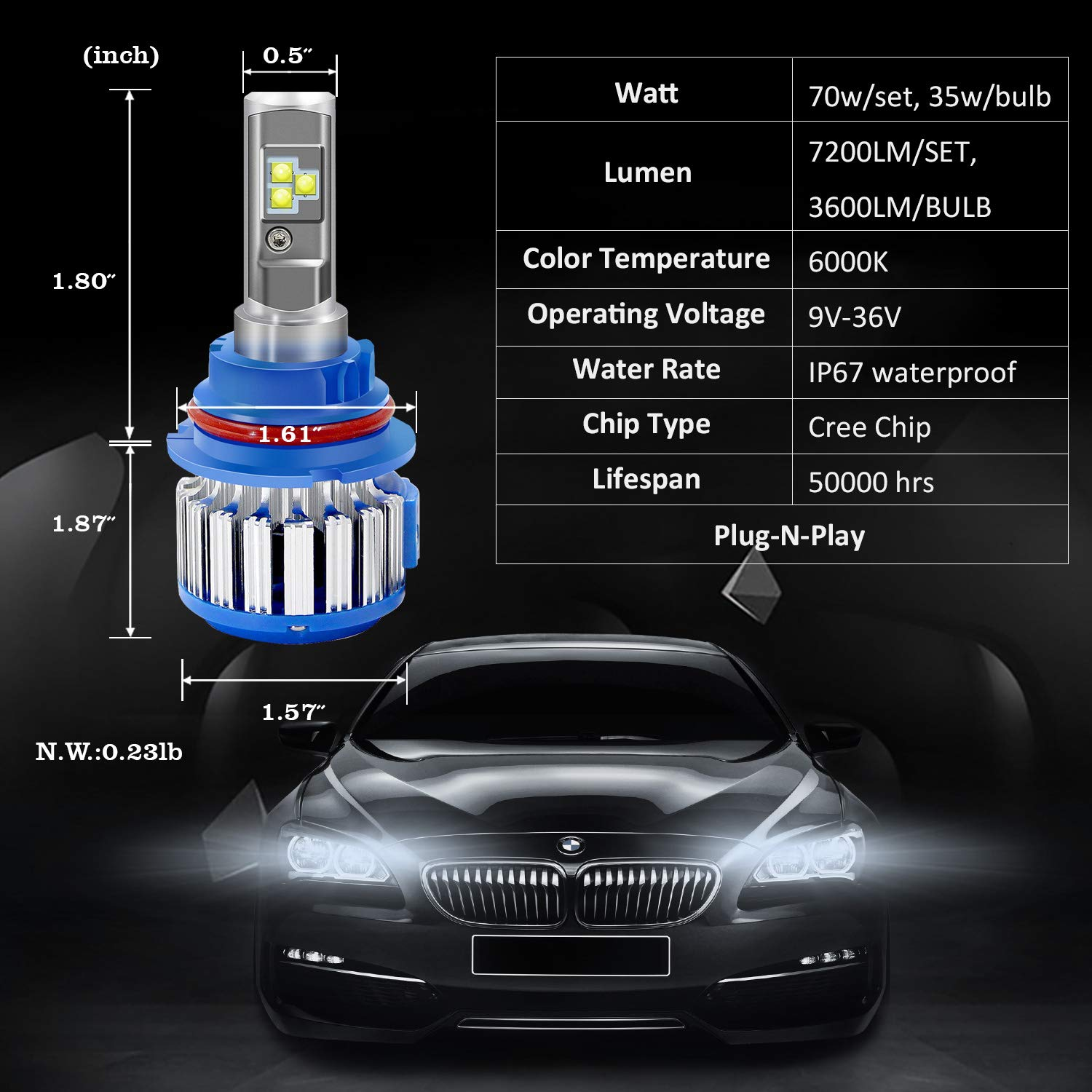 Amazon Com Win Power 9007 Led Headlight Bulbs Dual High Low Beam