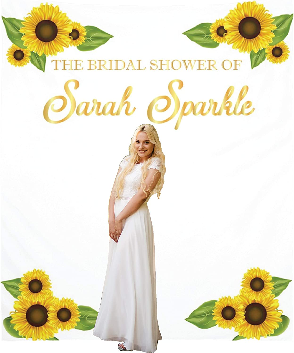 Amazon Com Personalized Bridal Shower Fabric Backdrop Wedding Decoration Photo Booth Backdrops Customized Birthday Party Banner Sunflowers Custom Sign Decorations Reception Ceremony X Large 7 3x8 7 Feet Health Personal Care