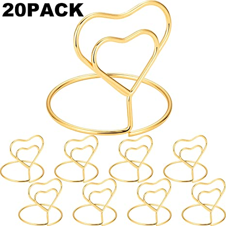 Amazon Com Chuangdi 20 Pieces Wire Place Card Holder Metal Card Holder Stand Wedding Name Place Holder For Weddings Dinner Parties Food Signs Style 3 Gold Color Home Kitchen