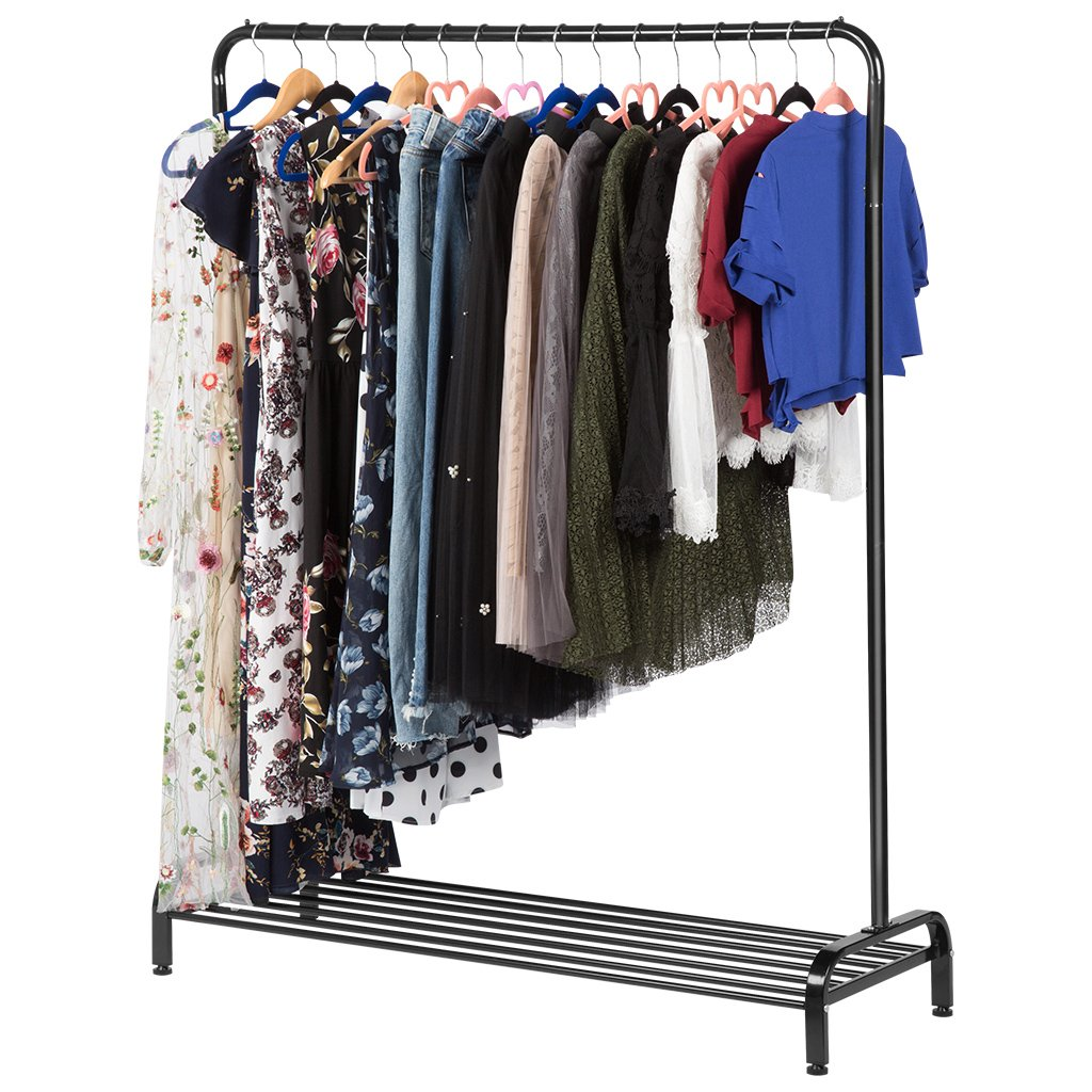 LANGRIA Heavy Duty Commercial Grade Clothing Garment Rack with Top Rod and Lower Storage Shelf for Boxes Shoes Boots 47.2 x 17.7 x 63 inches, Black