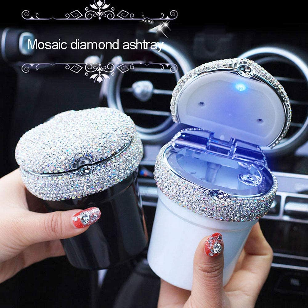 Car Ashtray with Led Travel Light XTMC Car Ashtray Bling Diamond Inlaid Luminous Multi-Function Crystal Car Ashtray Utensils Ladies Car Interior Accessories,Black
