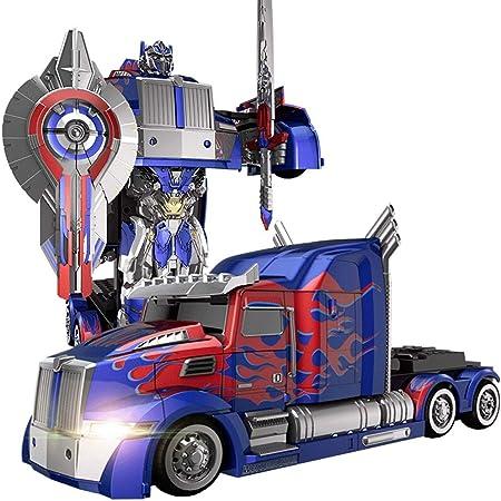 AIOJY Camiones de un solo clic Deformación Optimus Prime RC juguete de un solo clic del