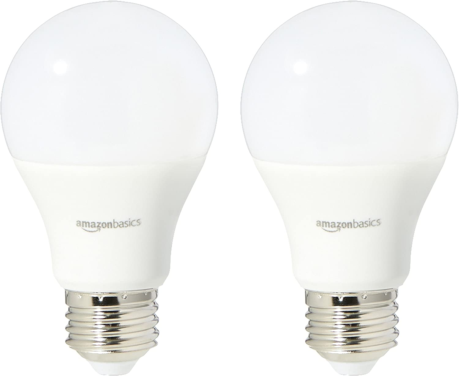 AmazonBasics 60 Watt Equivalent, Daylight, Non-Dimmable, A19 LED Light Bulb | 2-Pack
