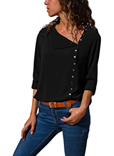 7e138b8eeee199 DOKOTOO Womens V Neck 3/4 Long Sleeve Shirts Tops Buttom Down Solid Color  Blouse