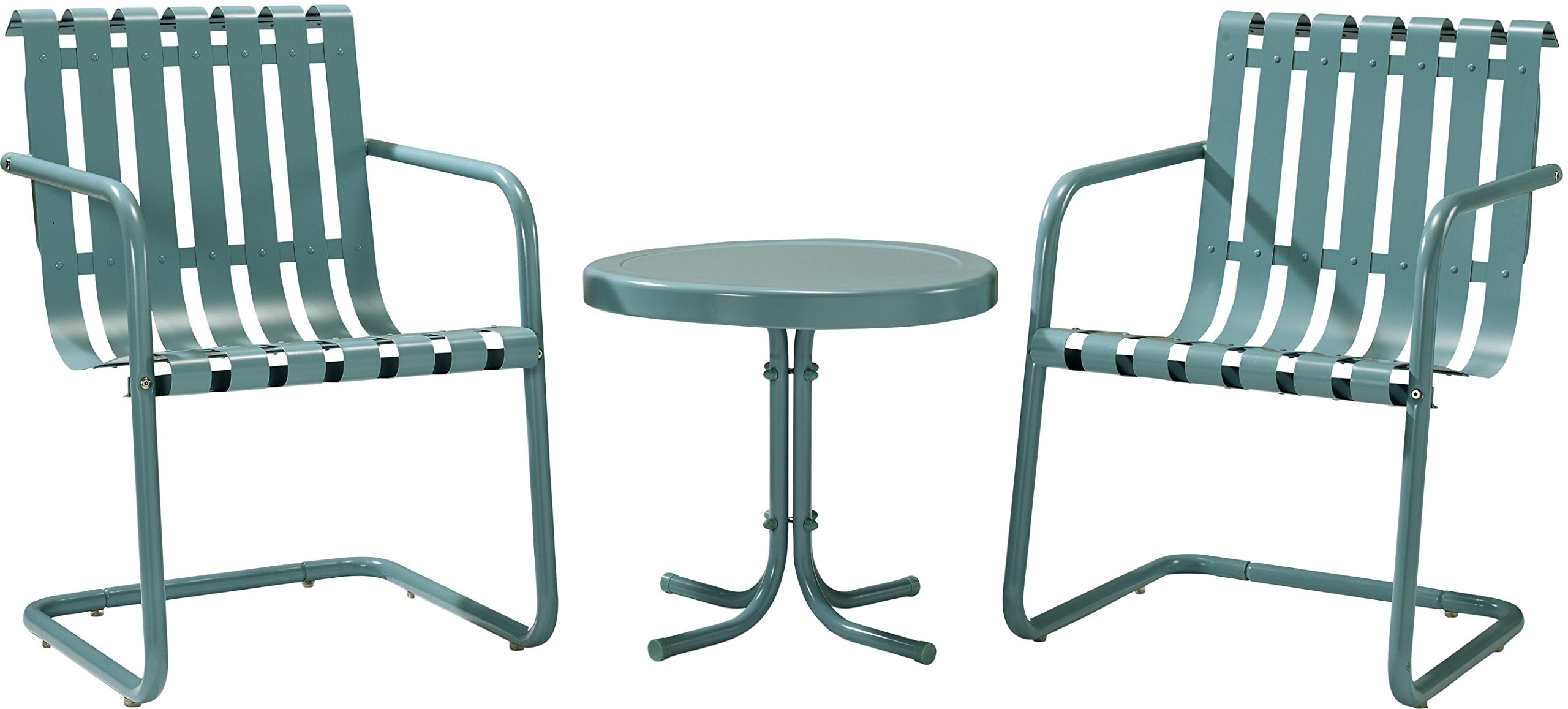 Crosley Furniture Gracie 3-Piece Retro Metal Outdoor Conversation Set with Side Table and 2 Chairs - Caribbean Blue by Crosley Furniture