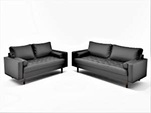 Container Furniture Direct Orion Mid Century Modern Faux Leather Upholstered Sofa Loveseat Set with Bolster Pillows, Black