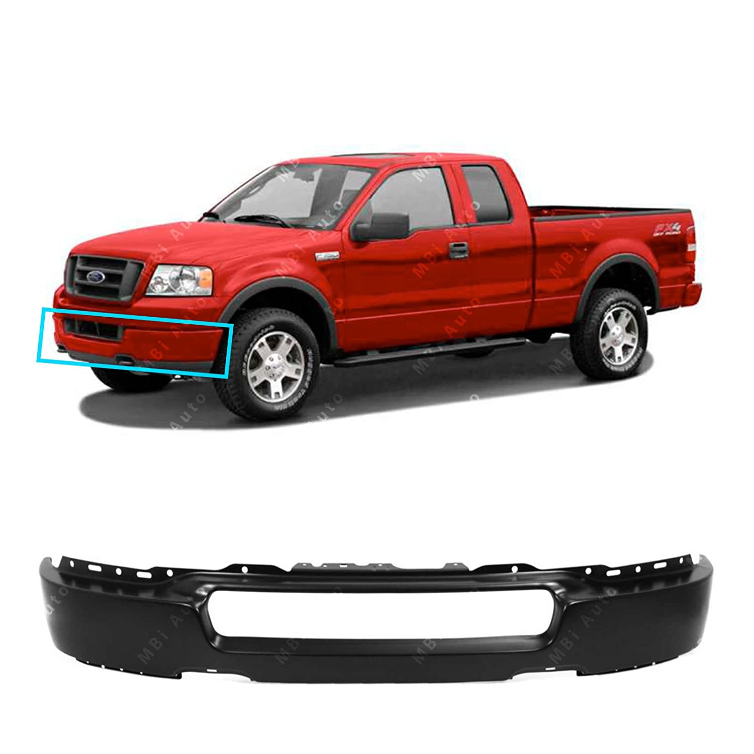 Primered FO1002389 MBI AUTO Steel Front Bumper Face Bar for 2004 2005 Ford F150 04 05