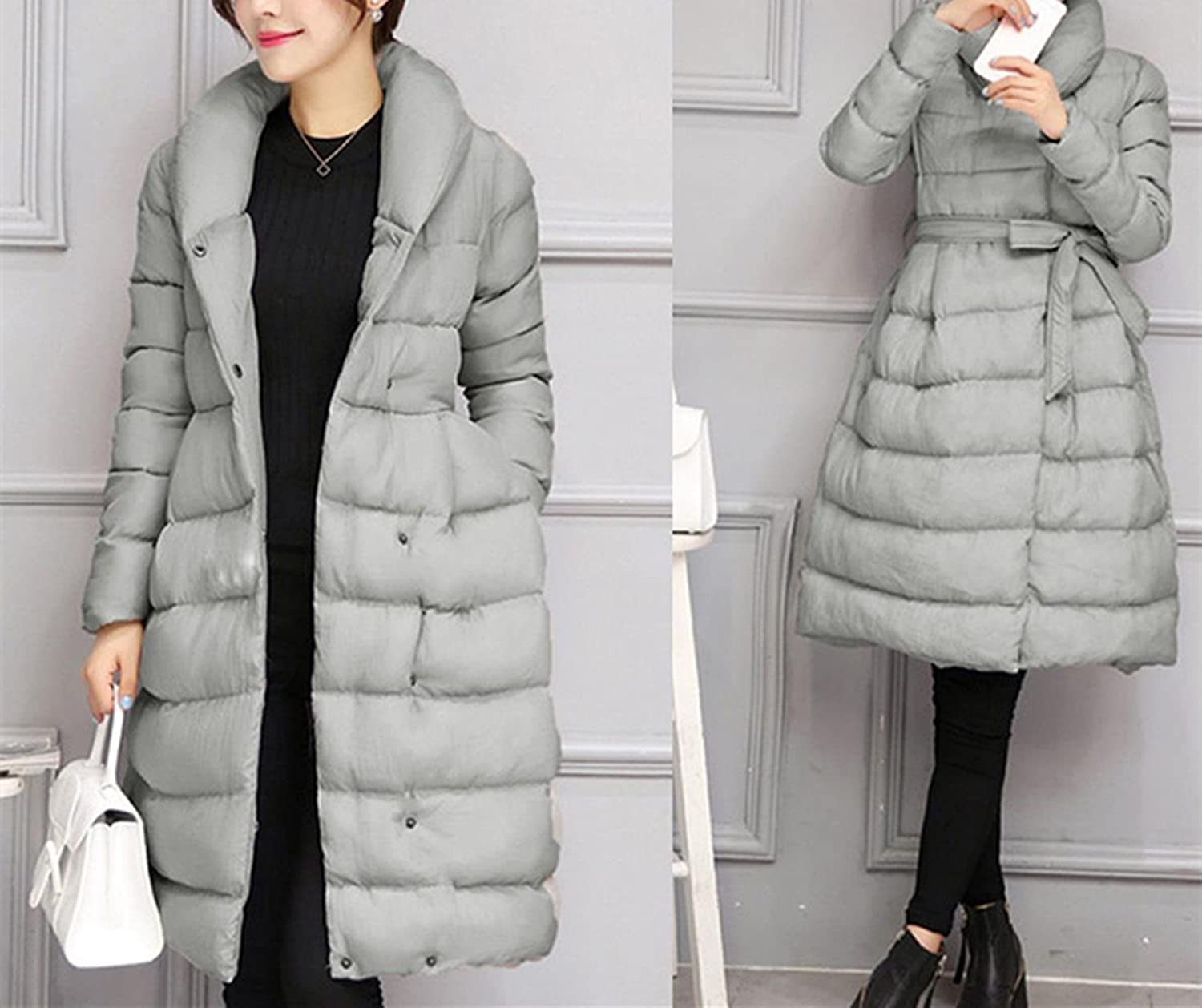 253649278c4 Amazon.com  BSGSH Down Coats For Women Winter Elegant Thickened Belted  A-Line Solid Down Jacket Parka  Clothing