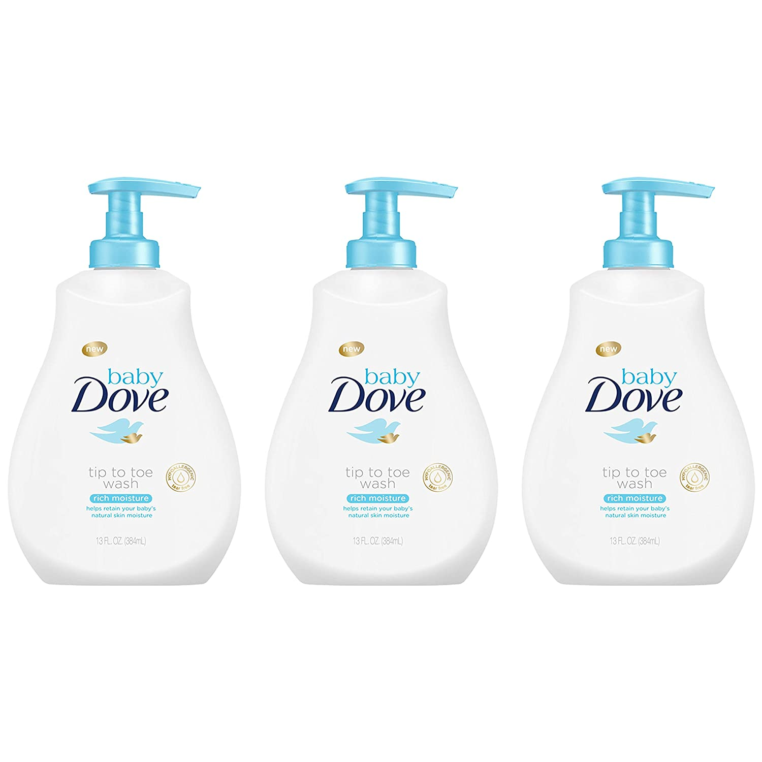 Baby Dove Rich Moisture Tip to Toe Baby Wash and Shampoo 13 Fl Oz (Pack of 3)