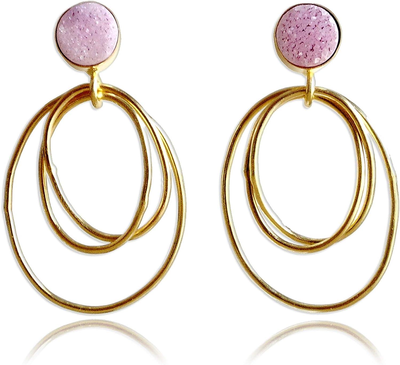 Pendientes colgantes hechos a mano de oro vermeil rosa drusa de 18 quilates con piedras preciosas circulares