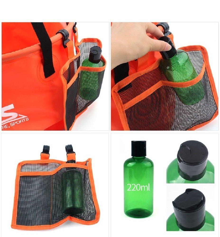 aiyoyo 30L exterior plegable Cubo portátil multifunción cubo de agua con de malla cesta y bolsillo de malla 220 ml botella de plástico para camping jardín ...