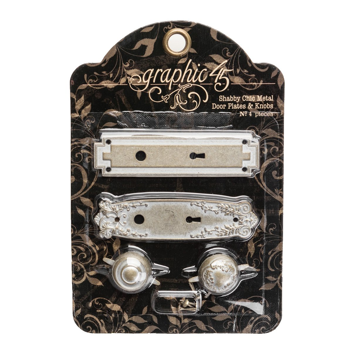 Graphic 45 260619 Staples Metal Door Plates W/Knobs 2 Sets, Shabby Chic Notions 4501296