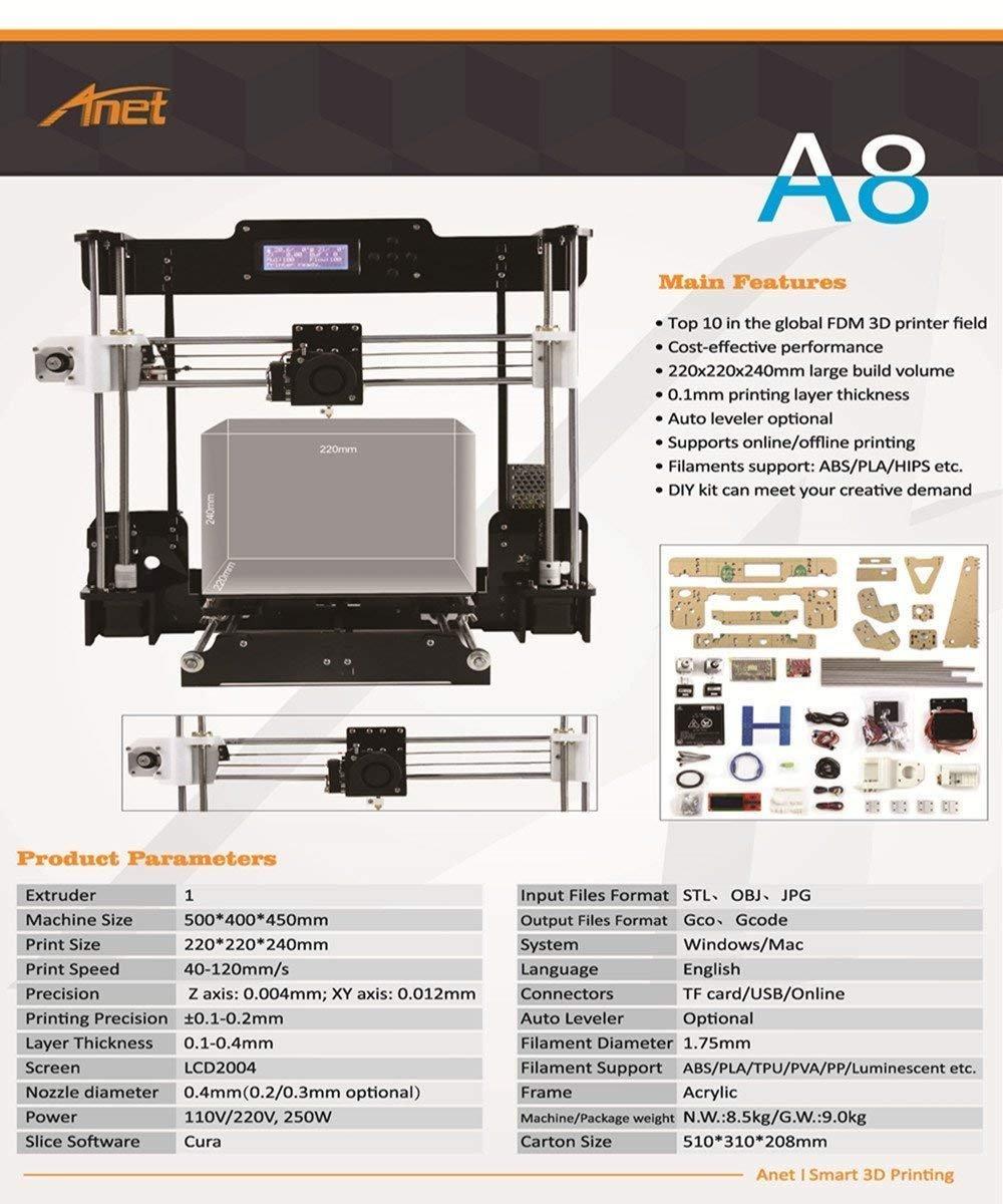 Anet A8 Impresora 3d DIY Kit Soporte Multi filamento 8 GSD grandes ...