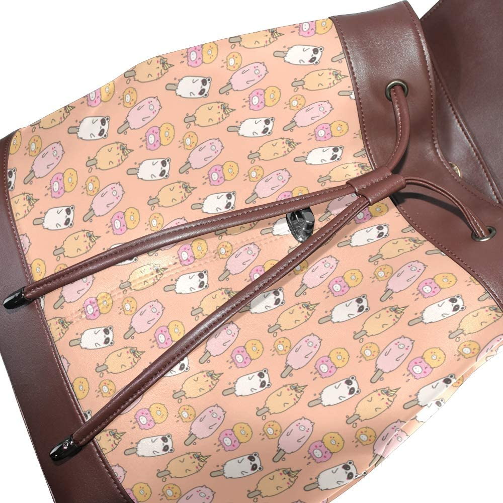 Leather Cute Animal Ice Cream Pandas Pink Backpack Daypack Bag Women