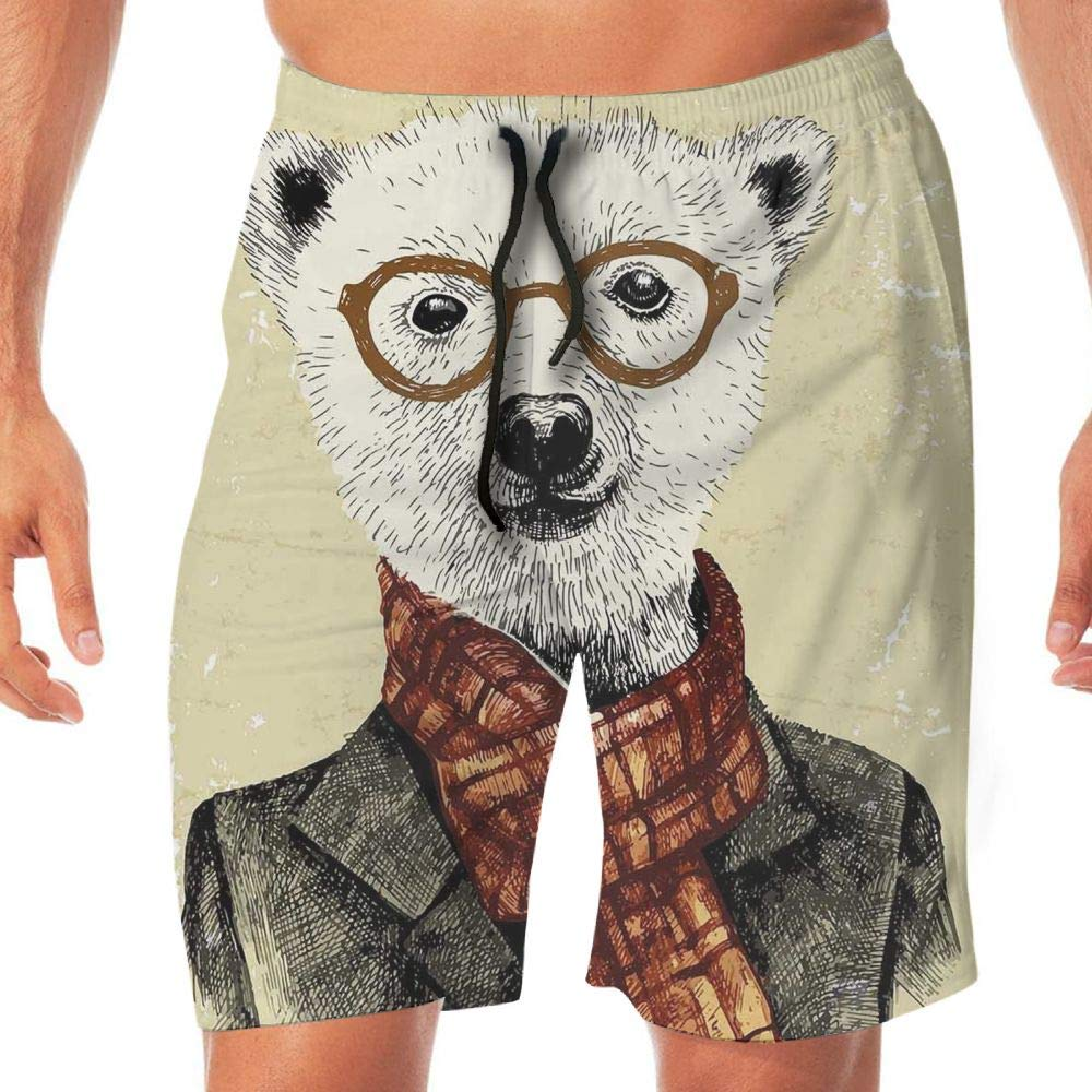 Haixia Man Summer Swimming Trunks Animal Hipster Bear with Glasses Scarf Jacket by Haixia