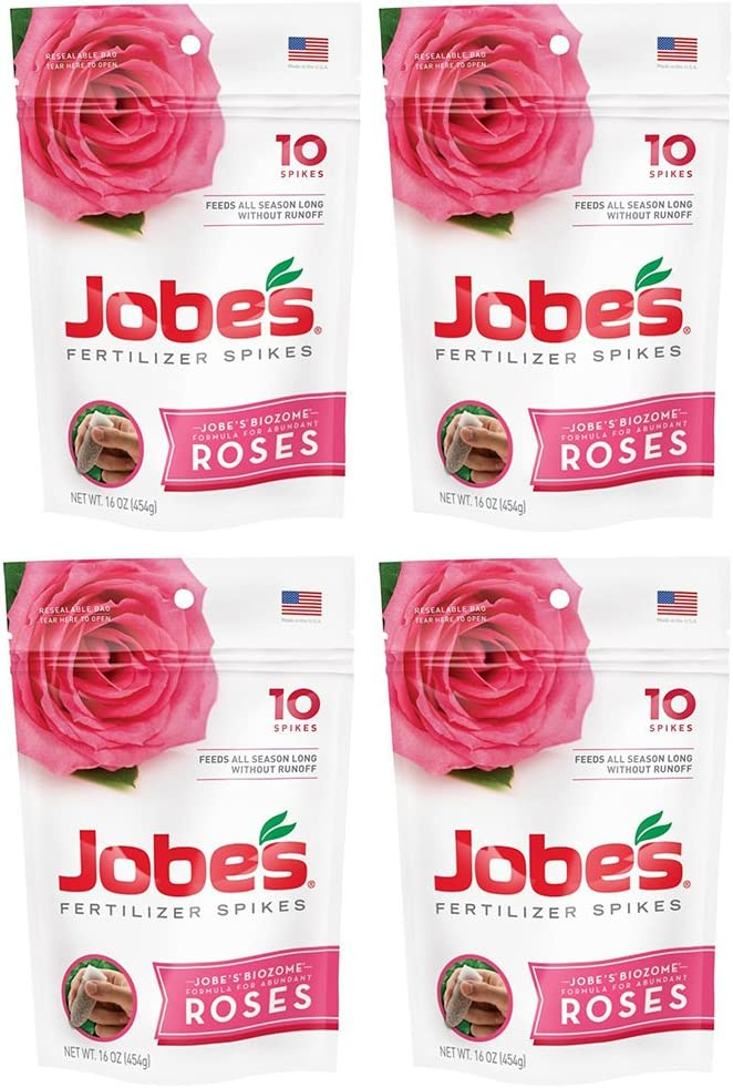 Jobes vznmYB Rose Fertilizer Spikes 9-12-9 Time Release Fertilizer for All Flowering Shrubs, 10 Spikes (4 Pack)