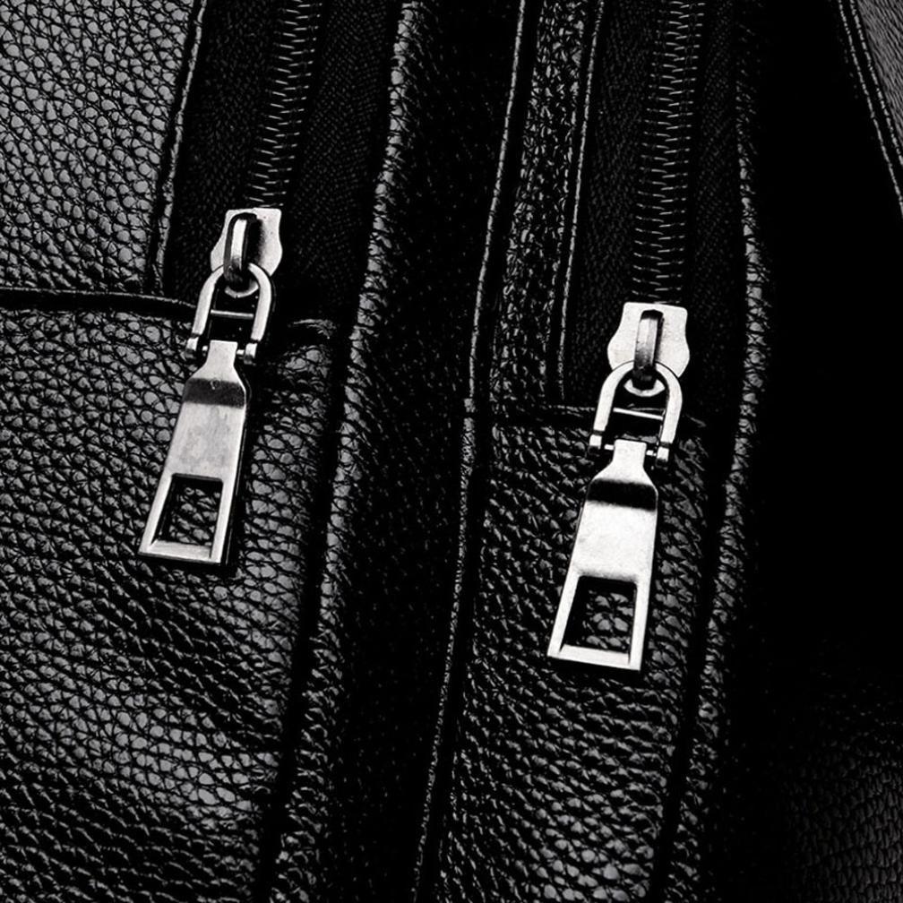 GREFER Women Girl Leather Backpack Student Satchel Travel School Rucksack Bag Black-4