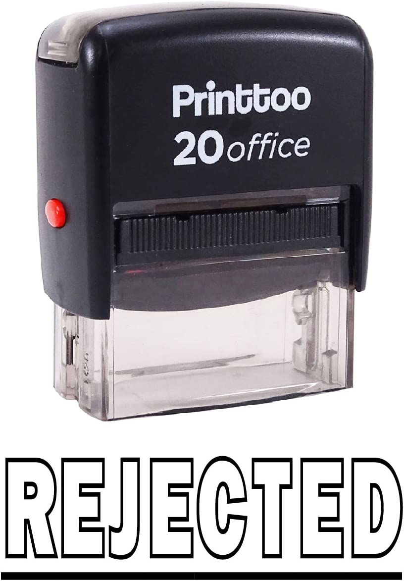 Printtoo Self Inking Rubber Stamp Office Stationary Rejected Custom Stamp-Red