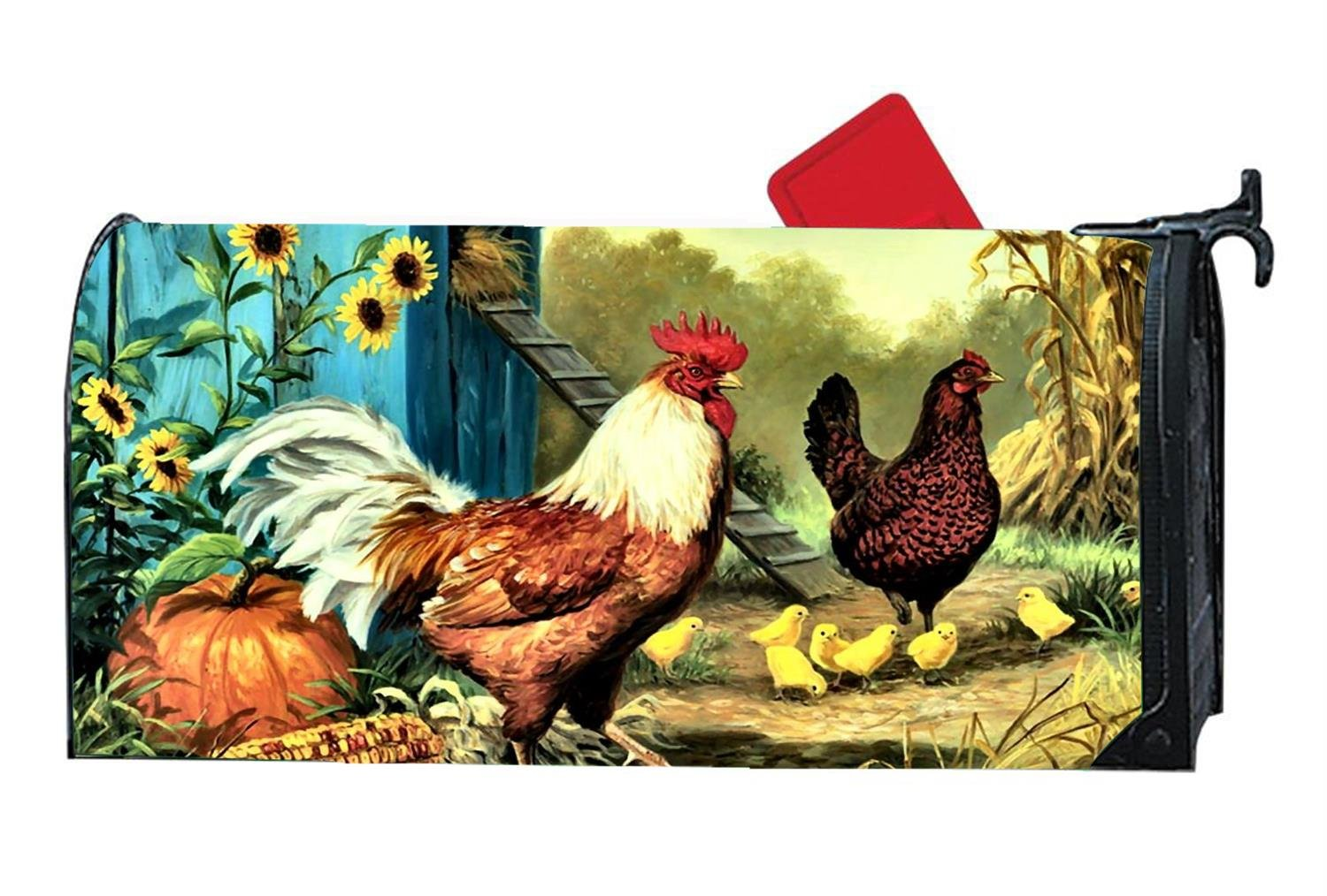 DIY Decorative Farm Chickens Magnetic Mailbox Cover Standard Mailbox Wrap with Animals Design