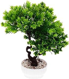 Happyyami Fake Cedar Bonsai Tree Fake Tree Pot Ornaments Faux Potted Plant Tree for Decoration Desktop Display Zen Garden Decor