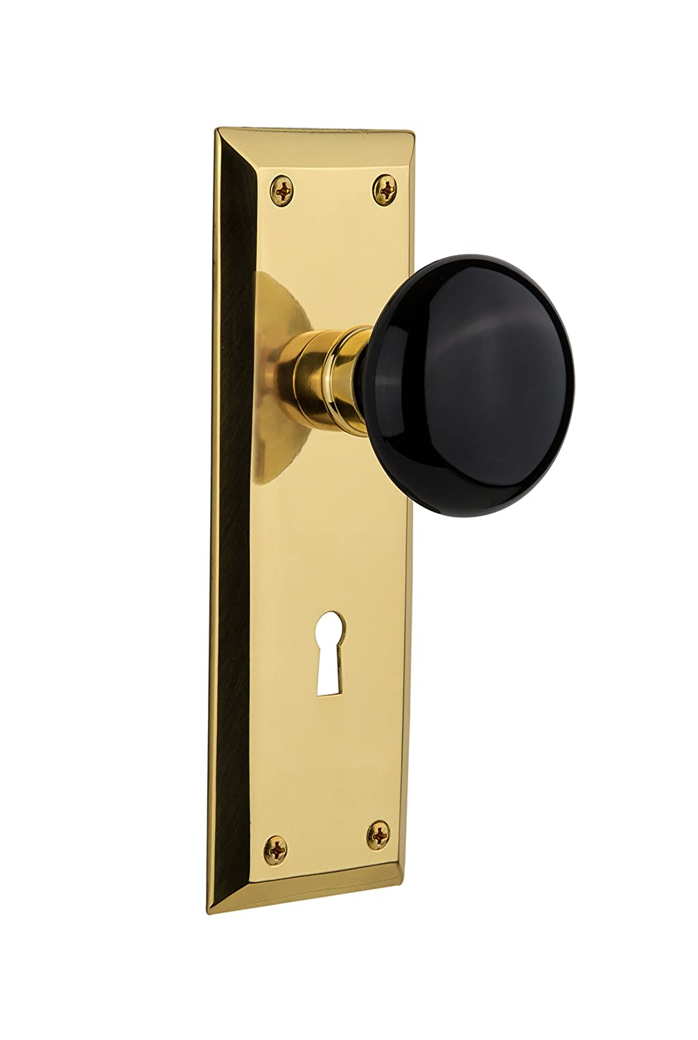 Nostalgic Warehouse New York Plate with Keyhole Double Dummy Black Porcelain Door Knob in Timeless Bronze 700992