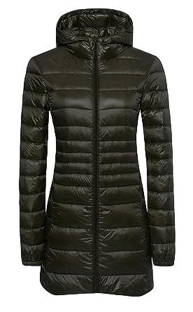 Ilishop Women's Winter Outwear Light Coat Hooded Down Jacket at ...