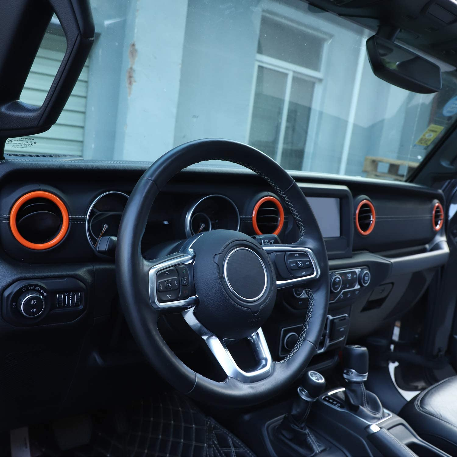 RT-TCZ Air Vents Cover Trim Decoration Stickers Air Conditioning Vent Outlets Trim ABS Cover for Jeep 2018-2021 UP JL Orange for Jeep Wrangler Accessories