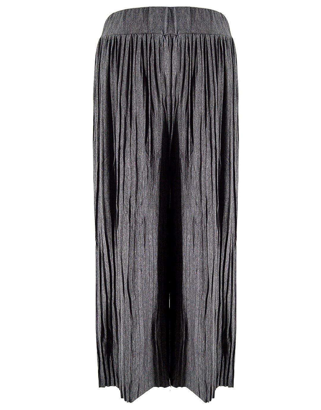 8a36532f7f3 LA HAUTE Women Wide Leg Pants Autumn Winter Cotton Elastic Waist Plus Size  Pleated Trousers Casual Flared Palazzo Trousers  Amazon.co.uk  Clothing