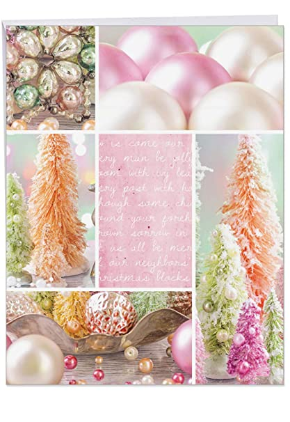 Huge Christmas Card.Extra Large Christmas Card Pastel Noel Featuring Pink Decorations Laid Out For Christmas Holidays With Envelope Big Size 8 5 X 11 Happy