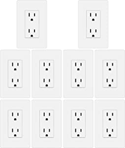 [10 Pack] BESTTEN Decorator Wall Receptacle Outlet, Screwless Wallplate Included, Non-Tamper-Resistant, 15A/125V/1875W, for Residential and Commercial, UL Listed, White