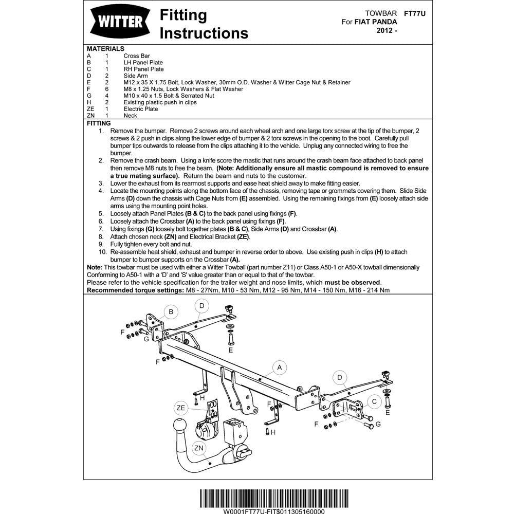 Witter Ft77s Fixed Swan Neck Tow Bar Chrysler Ypsilon 2011 On Wiring Diagram Fiat Panda Hatchback 2012 Car Motorbike