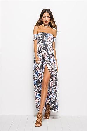 0b46b24e43e5 YAO Summer Beach Dress,Chiffon Long Dress High Split Sexy Sleeve Strapless Off  Shoulder Floral