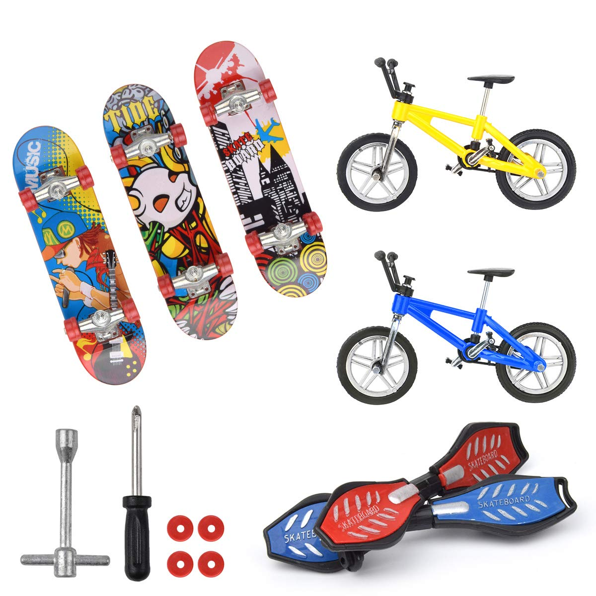 Hotusi Mini Finger Sports Skateboards/Bikes/Swing Boards for Party Favors Educational Finger Toy by Hotusi