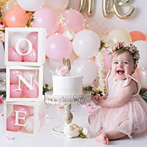 Baby 1st Birthday Decorations, First Birthday Balloon Boxes Decor with Letter, Individual ONE Blocks Design for Boy Girl 1 Year Old Birthday Decorations, First Birthday Party Supplies Backdrop Favor