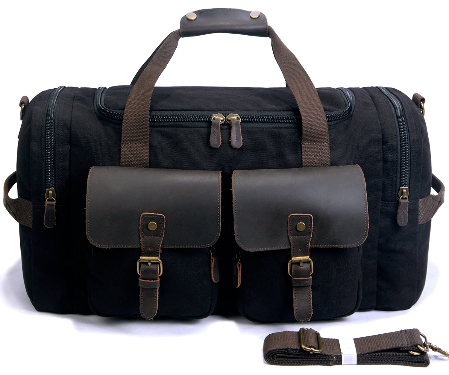 12b4d1803 Amazon.com | SUVOM Canvas Duffle Bag Leather Weekend Bag Carry On Travel Bag  Luggage Oversized Holdalls for Men and Women(Black) | Travel Duffels