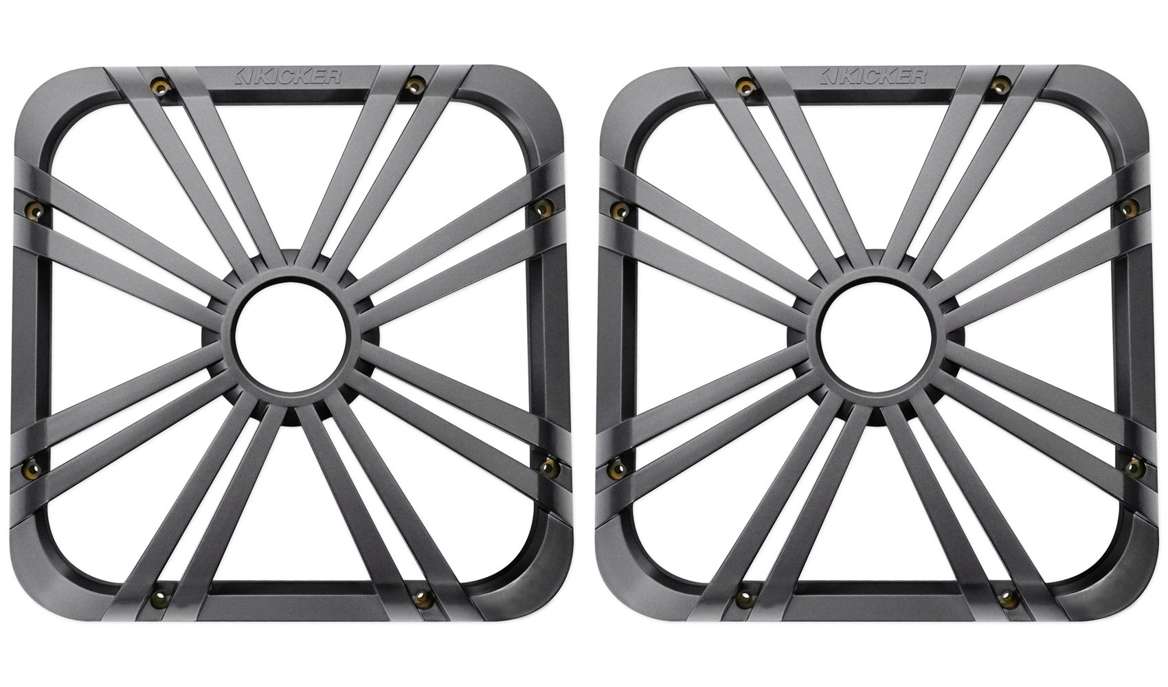 (2) Kicker 11L712GLCR 12'' Chrome Grilles With LED Lighting For SoloBaric 11S12L7 Subwoofer by KICKER