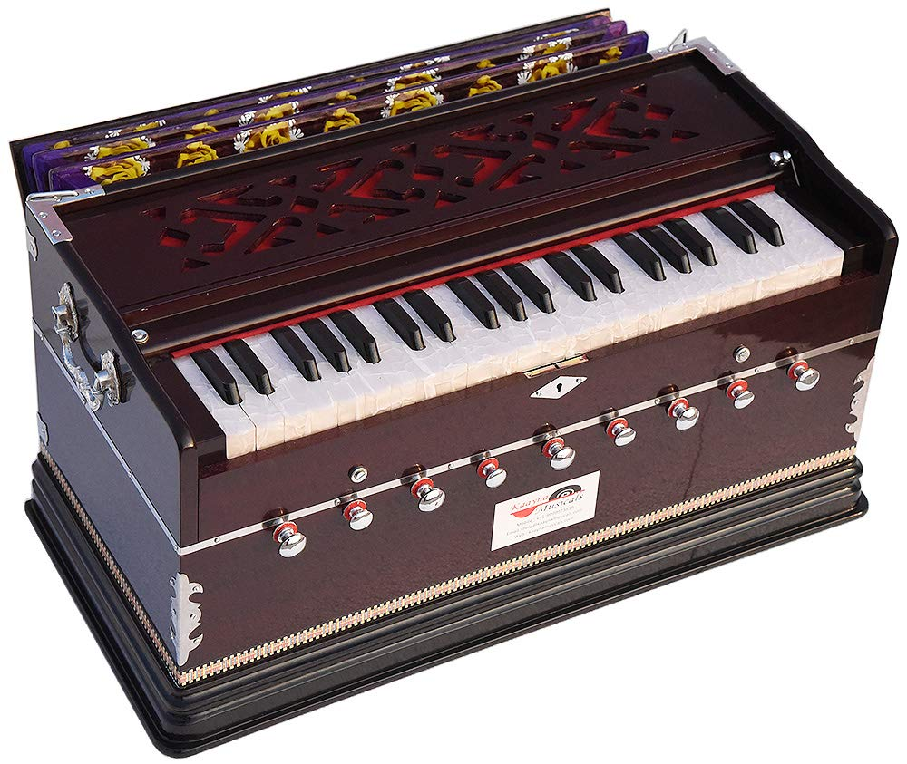 Harmonium Extra Height By Kaayna Musicals -9 Stops-5 Main & 4 Drone, 3½ Octave, Coupler, Dark Cherry Colour, Gig Bag, Bass/Male Reed- 440Hz, For Yoga, Bhajan, Kirtan, Shruti, Mantra, Chant, Meditation