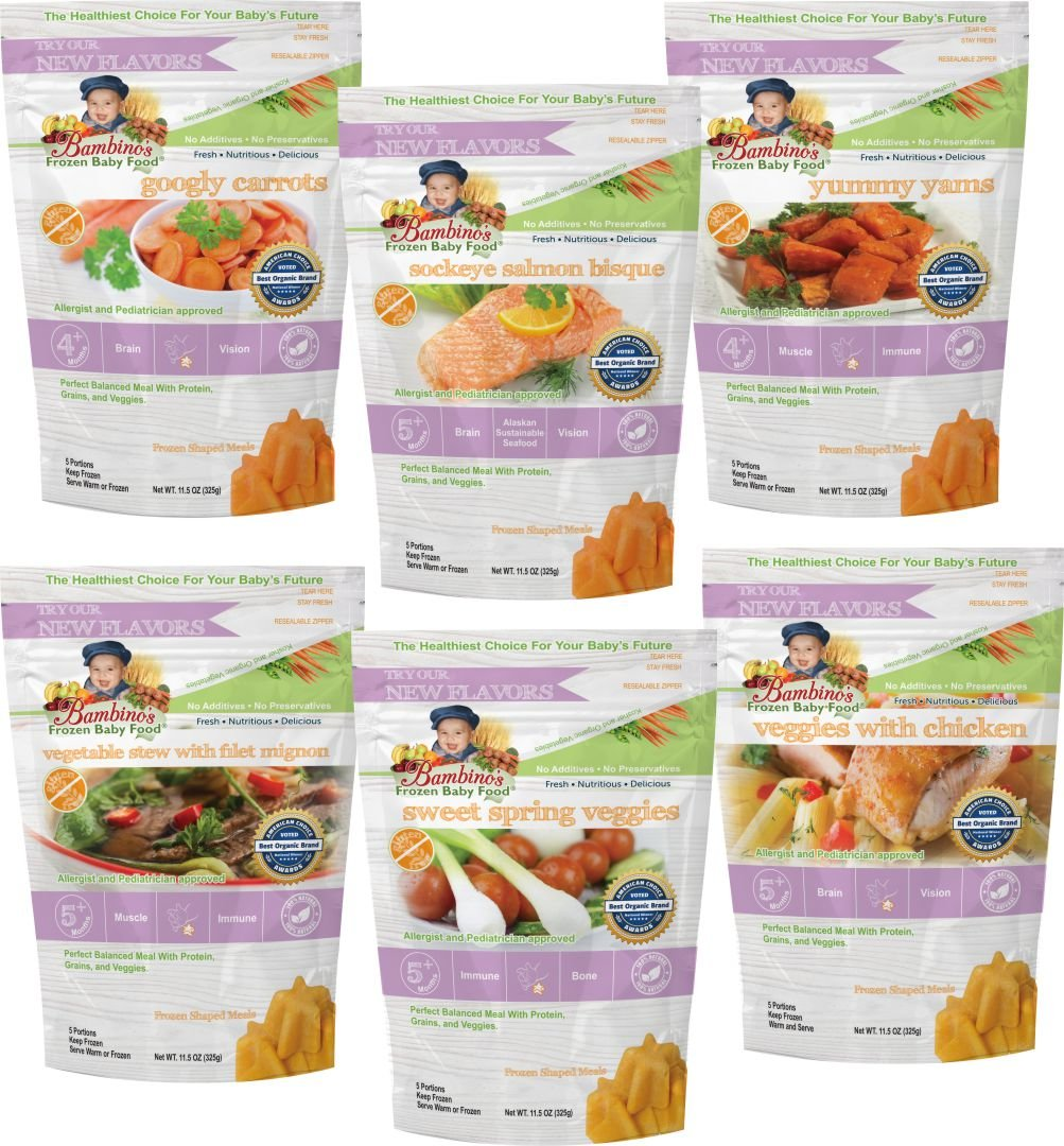 Bambino's Frozen Baby Food, Stages 1, 2 & 3, Organic All Natural Non-GMO, Protein Grain and Vegetables, 10 oz pouches (Pack of 6, Equivalent of 1 Month Supply). Great natural teething soother