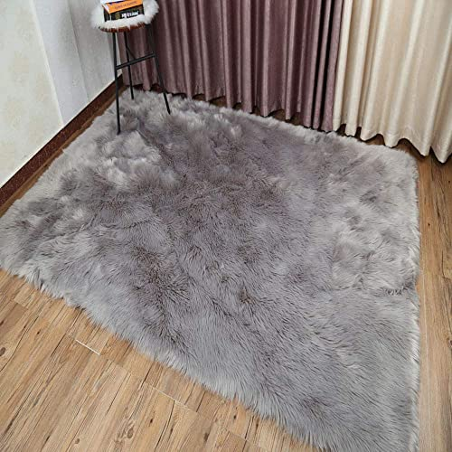 Pinkday Faux Fur Area Rug Sheepskin Area Rug Shaggy Rug for Home Decoration Grey 4×6 feet