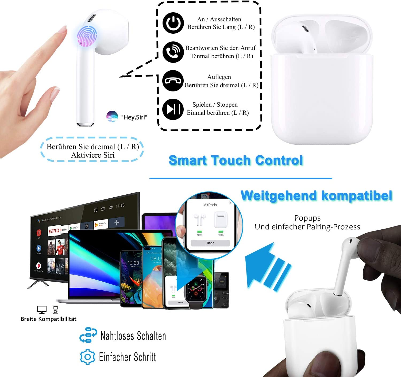Bluetooth Kopfh/örer,In-Ear Kabellose Kopfh/örer,Bluetooth Headset,Sport-Kopfh/örer,3D-Stereo mit 35H Ladek/ästchen und Integriertem Mikrofon Auto-Pairing f/ür Airpod//Android//IOS