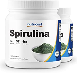 Nutricost Spirulina Powder 1LB (2 Bottles) - Pure Spirulina Powder; 8000mg Per Serving; 57 Servings Each - High Quality Spirulina