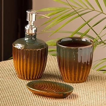Exclusivelane The Amber Teal Studio Pottery Ceramic Soap Dispenser Set For Bathroom Accessories Set Of 3 Liquid Soap Dispenser Toothbrush Holder Tumbler Bath Soap Tray Amazon In Home Kitchen